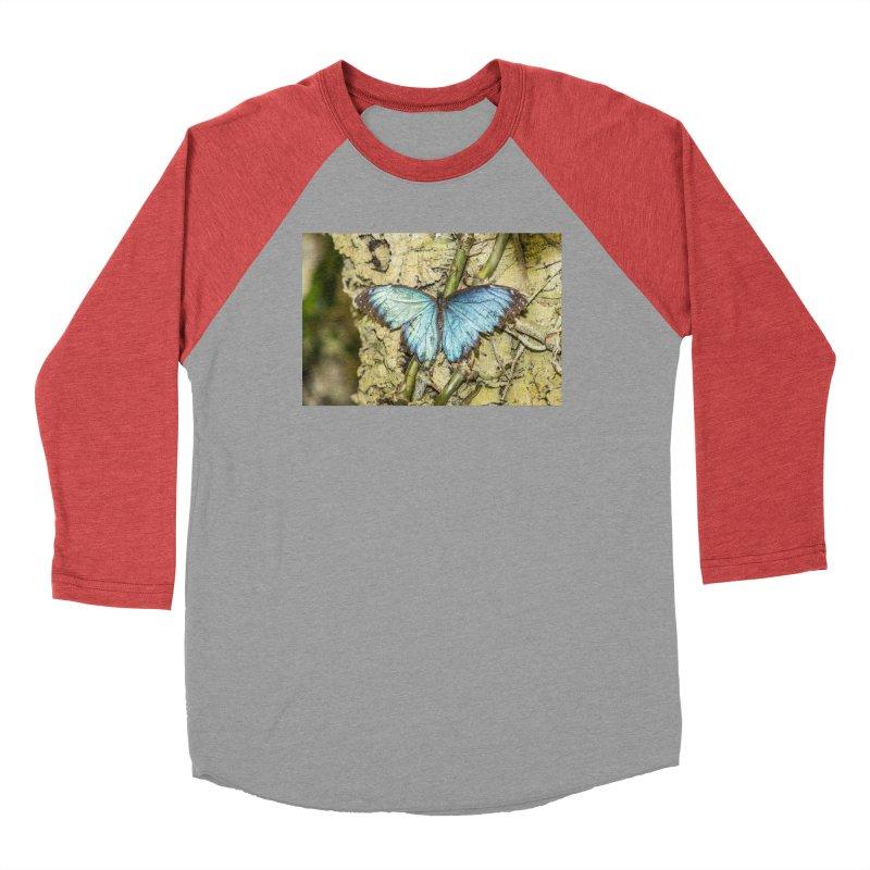 Blue shining butterfly on a tree Men's Longsleeve T-Shirt by heilimo's Artist Shop