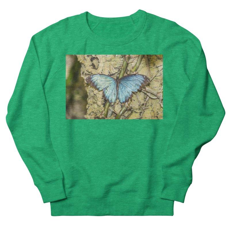 Blue shining butterfly on a tree Women's Sweatshirt by heilimo's Artist Shop