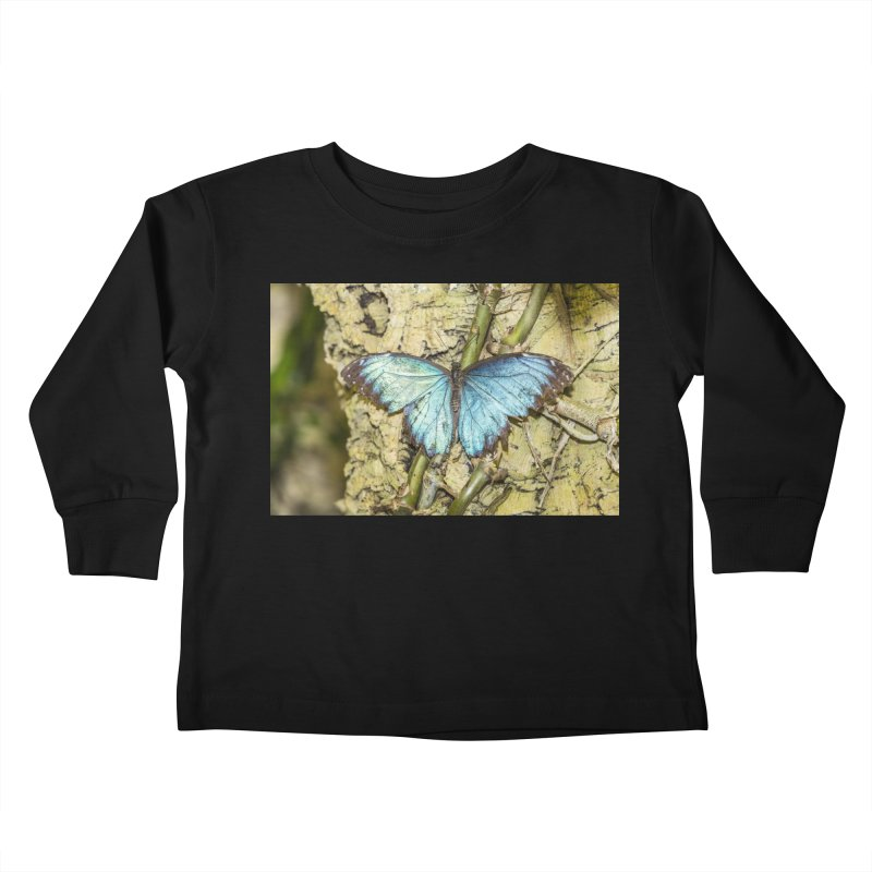 Blue shining butterfly on a tree Kids Toddler Longsleeve T-Shirt by heilimo's Artist Shop