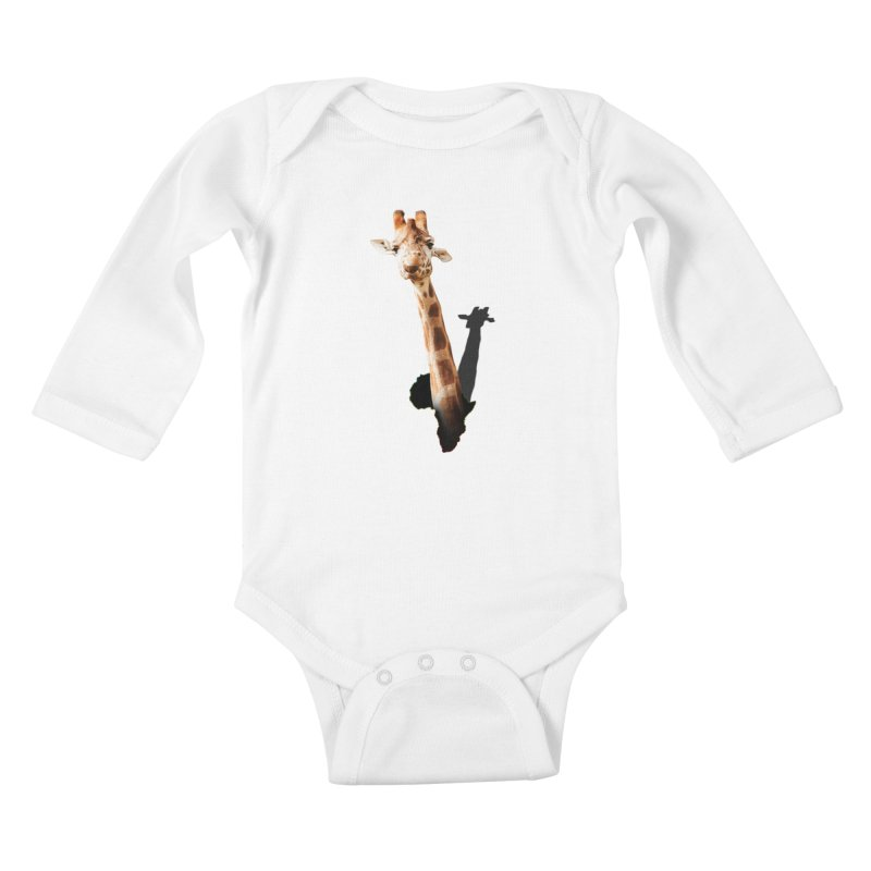 Funny giraffe popping out of Africa Kids Baby Longsleeve Bodysuit by heilimo's Artist Shop