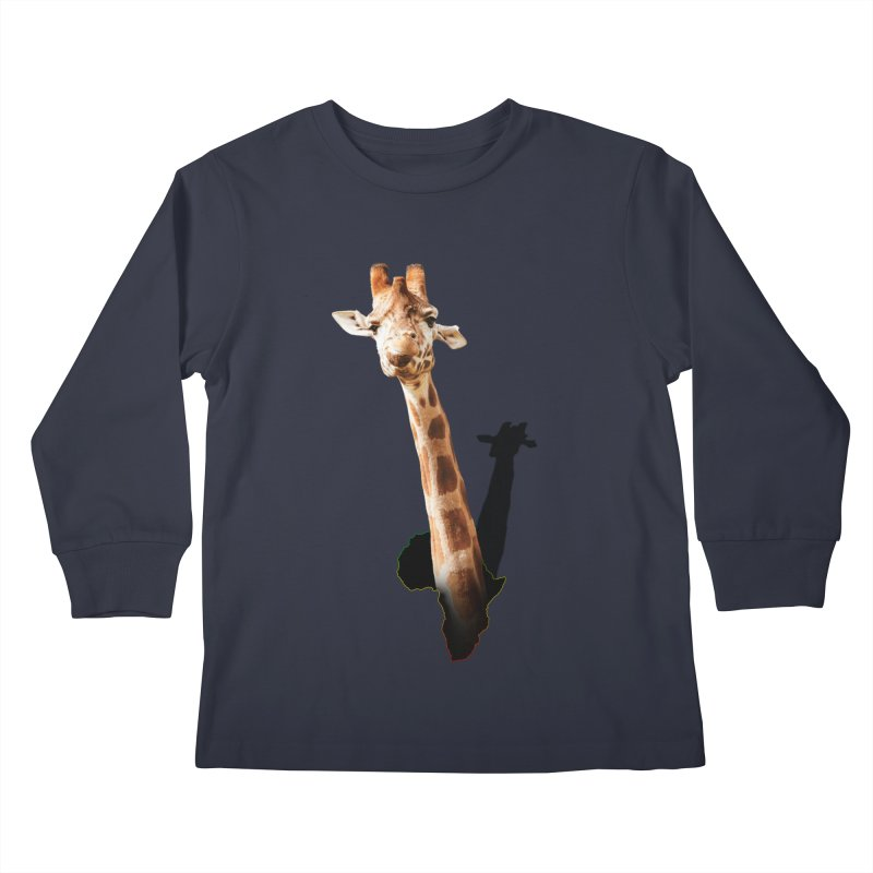 Funny giraffe popping out of Africa Kids Longsleeve T-Shirt by heilimo's Artist Shop