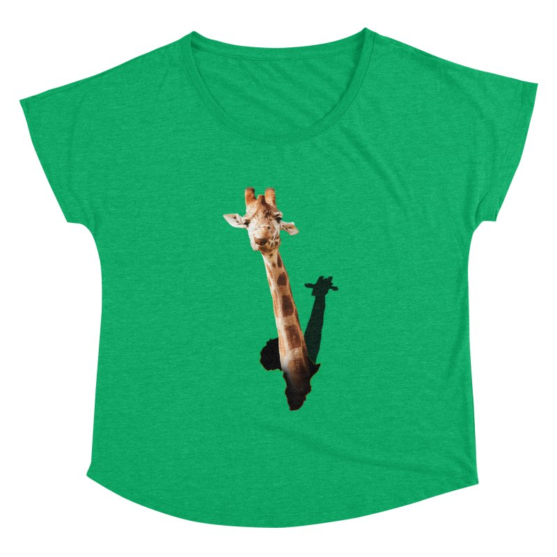 Funny giraffe popping out of Africa Women's Scoop Neck by heilimo's Artist Shop