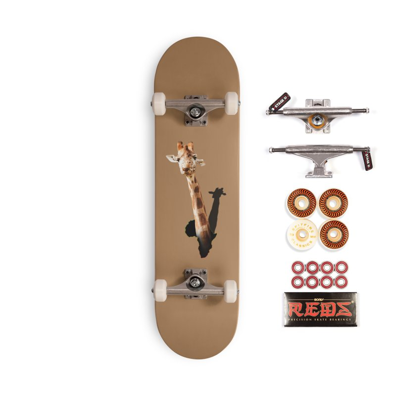 Funny giraffe popping out of Africa Accessories Skateboard by heilimo's Artist Shop