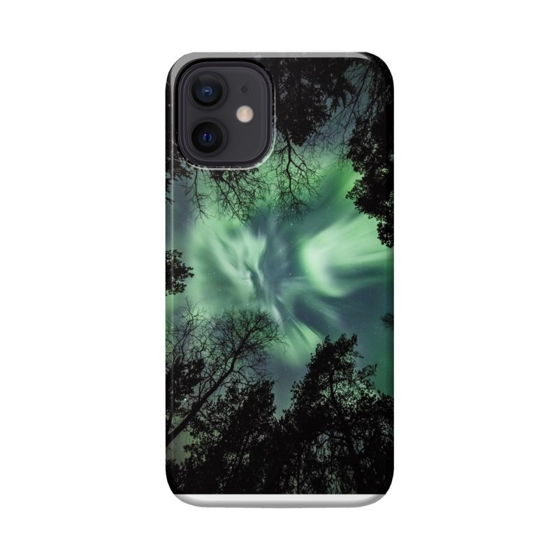 Green northern Lights In The Forest Accessories Phone Case by heilimo's Artist Shop
