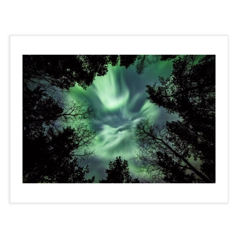 Green northern Lights In The Forest Home Fine Art Print by heilimo's Artist Shop
