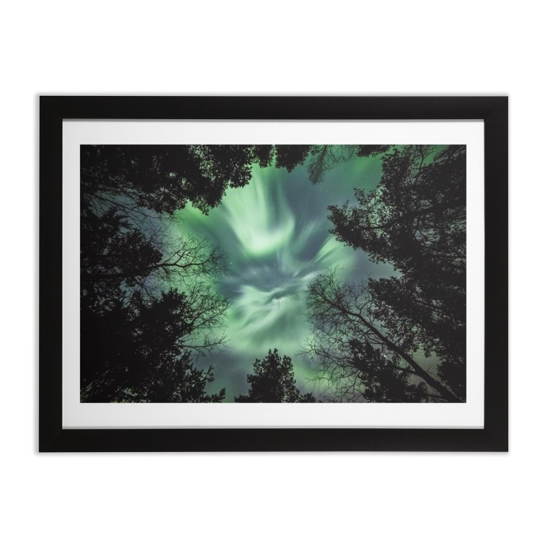 Green northern Lights In The Forest Home Framed Fine Art Print by heilimo's Artist Shop