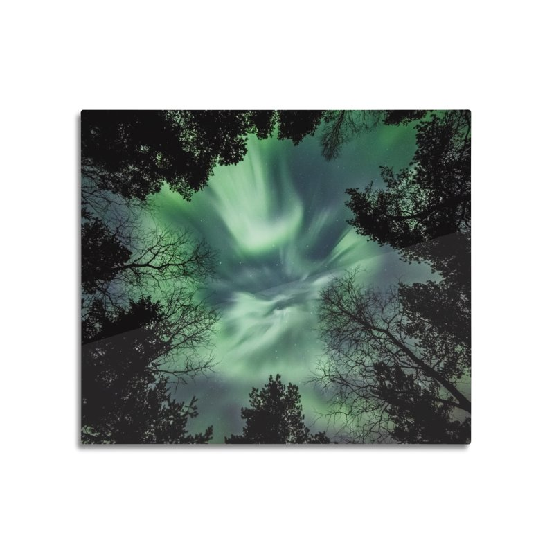 Green northern Lights In The Forest Home Mounted Acrylic Print by heilimo's Artist Shop