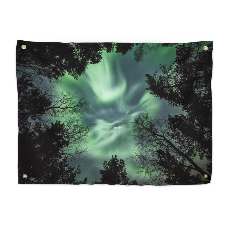 Green northern Lights In The Forest Home Tapestry by heilimo's Artist Shop