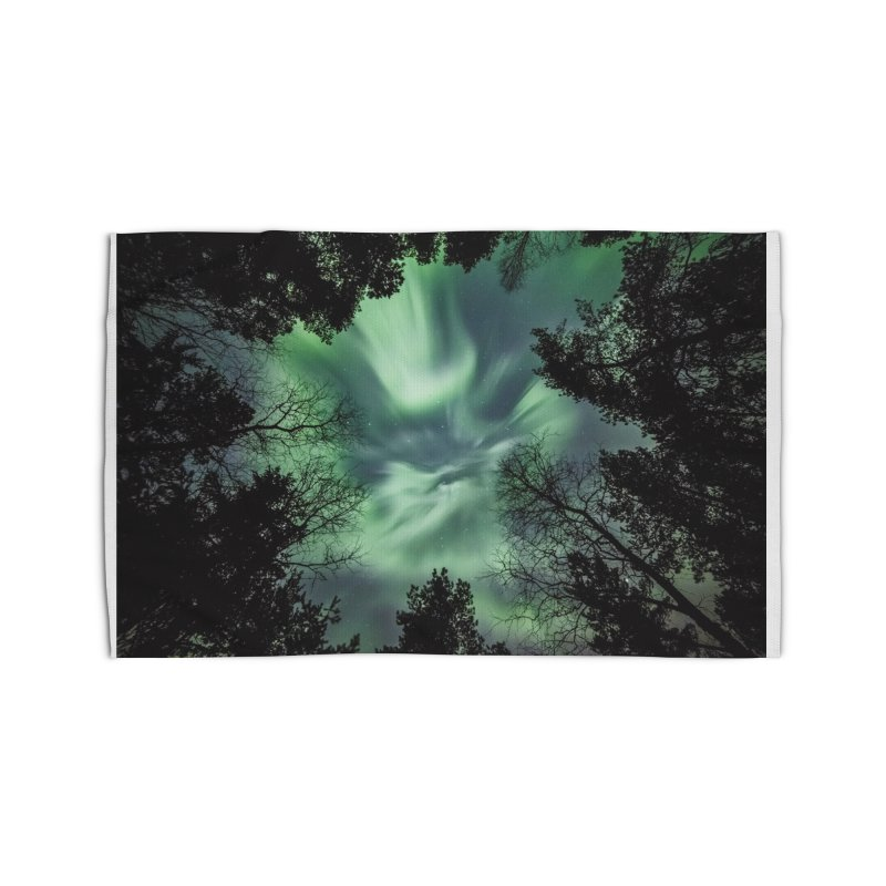 Green northern Lights In The Forest Home Rug by heilimo's Artist Shop
