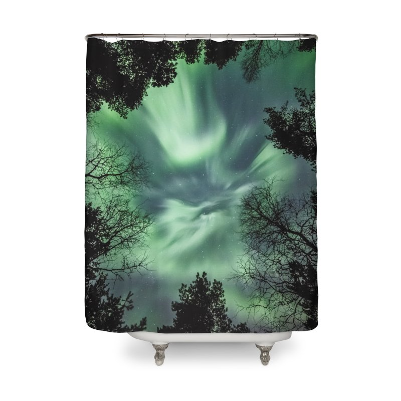 Green northern Lights In The Forest Home Shower Curtain by heilimo's Artist Shop