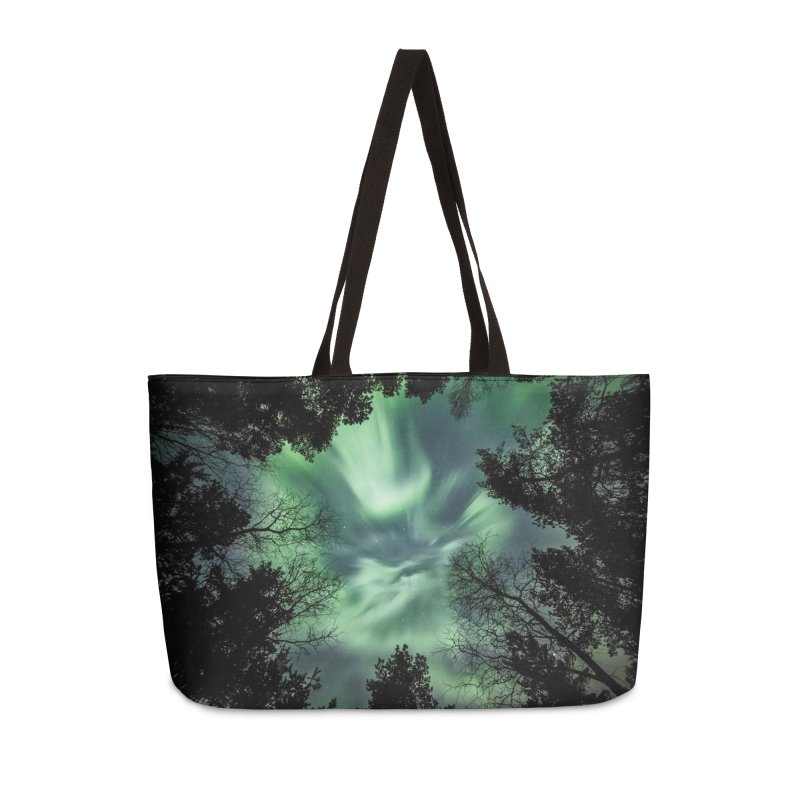 Green northern Lights In The Forest Accessories Bag by heilimo's Artist Shop