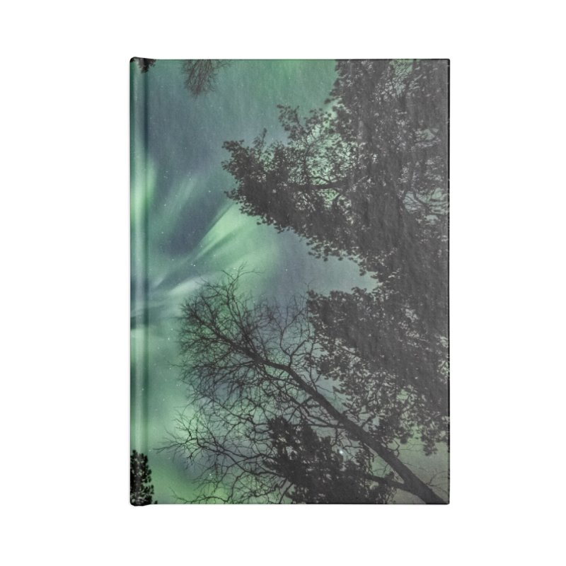 Green northern Lights In The Forest Accessories Notebook by heilimo's Artist Shop