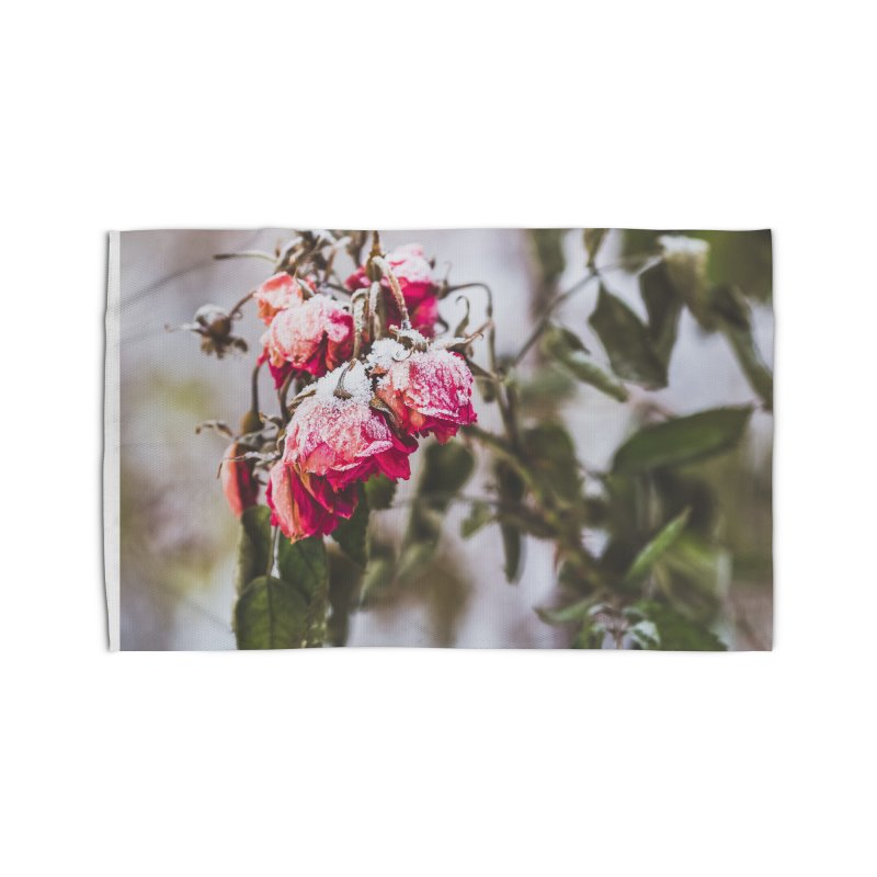 Frozen red roses Home Rug by heilimo's Artist Shop