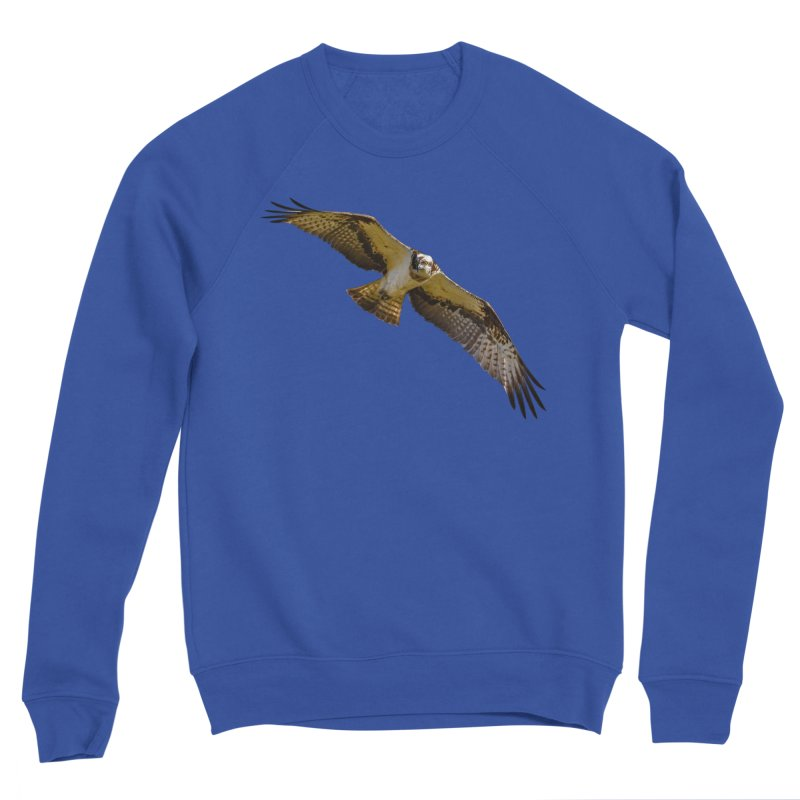 Flying osprey with a target in sight (cutout with blue background) Men's Sweatshirt by heilimo's Artist Shop