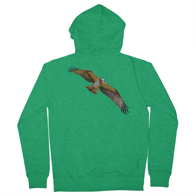 Flying osprey with a target in sight (cutout with blue background) Men's Zip-Up Hoody by heilimo's Artist Shop