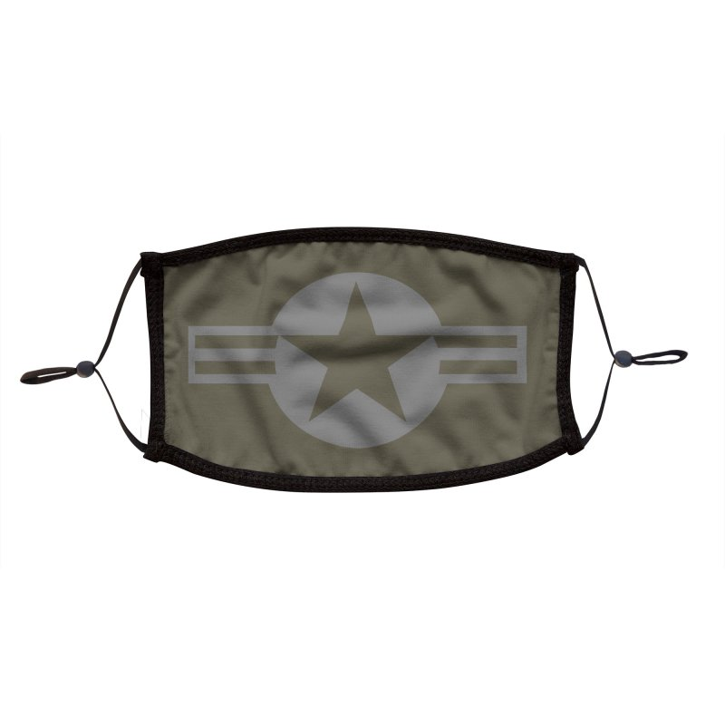 Low Visibility Grey Roundel of the United States Air Force Accessories Face Mask by heilimo's Artist Shop