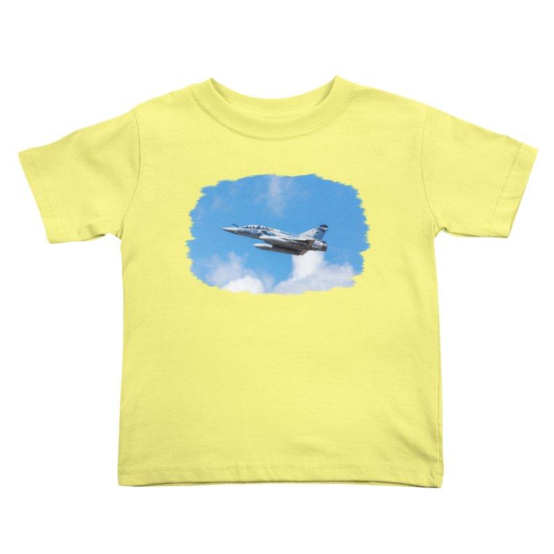 Dassault Mirage 2000B taking off (brushed border) Kids Toddler T-Shirt by heilimo's Artist Shop