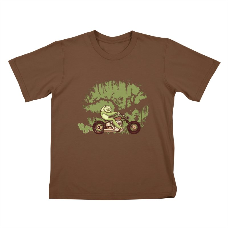 sloth racer Kids T-Shirt by Heldenstuff