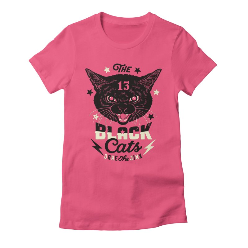 The 13 black cats Women's Fitted T-Shirt by Heldenstuff