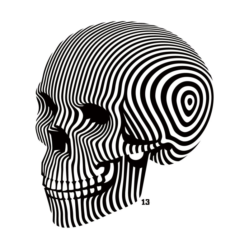 skull no. 1 / blk & wht None  by Heldenstuff