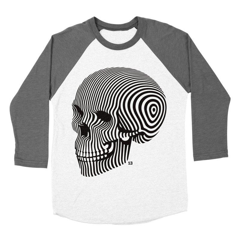 skull no. 1 / blk & wht Women's Baseball Triblend T-Shirt by Heldenstuff