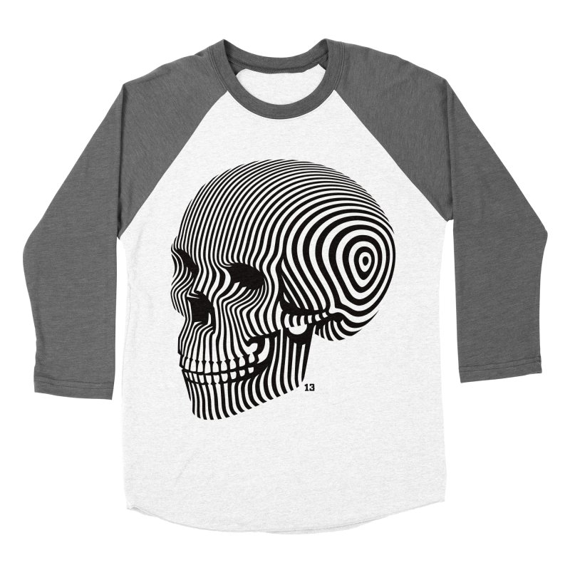 skull no. 1 / blk & wht Men's Baseball Triblend T-Shirt by Heldenstuff