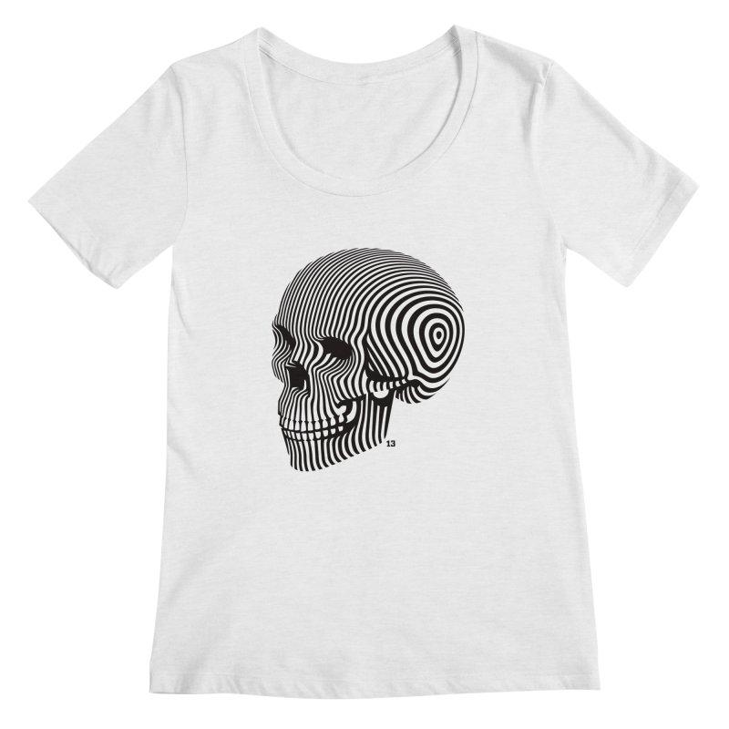 skull no. 1 / blk & wht Women's Scoopneck by Heldenstuff