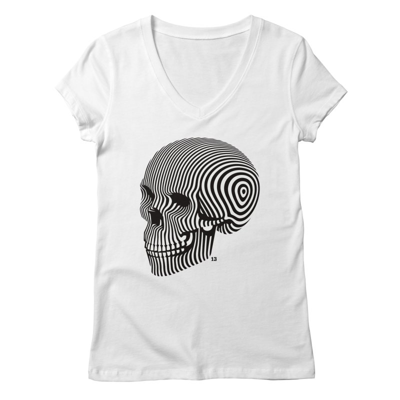 skull no. 1 / blk & wht Women's V-Neck by Heldenstuff
