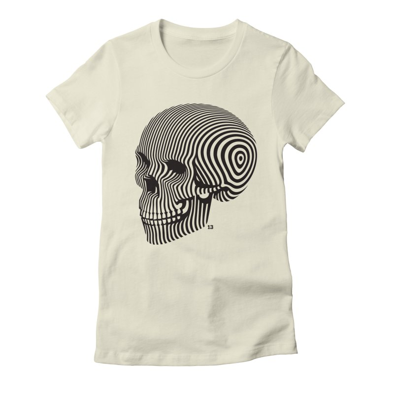 skull no. 1 / blk & wht Women's Fitted T-Shirt by Heldenstuff