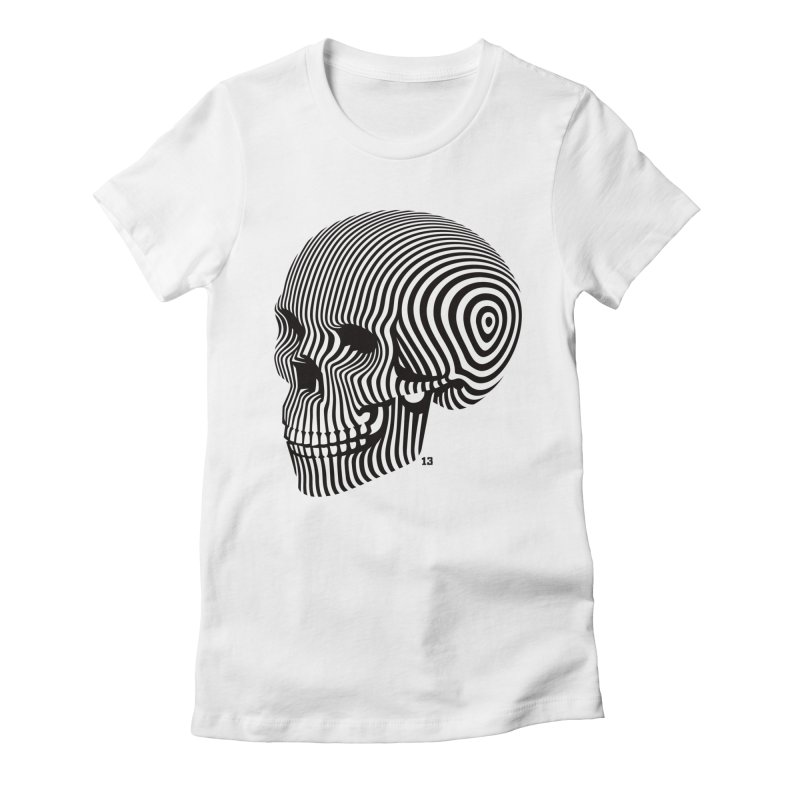skull no. 1 / blk & wht Women's Fitted T-Shirt by Heldenstuff