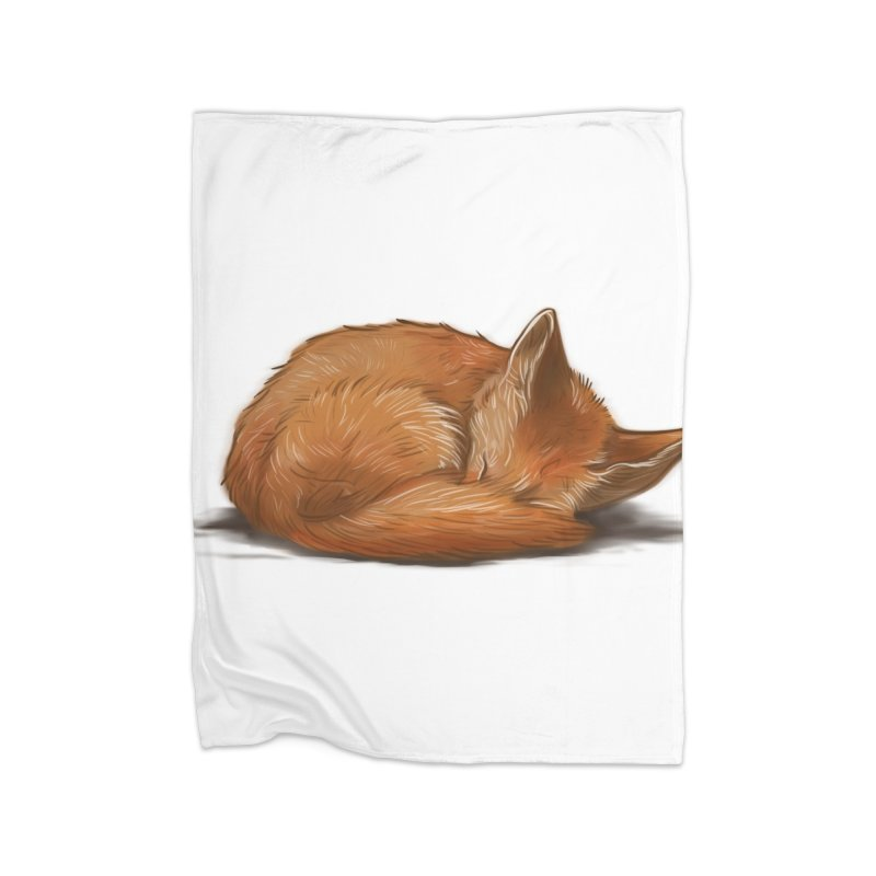 Let Sleeping Foxes Lie Home Blanket by The Art of Helenasia