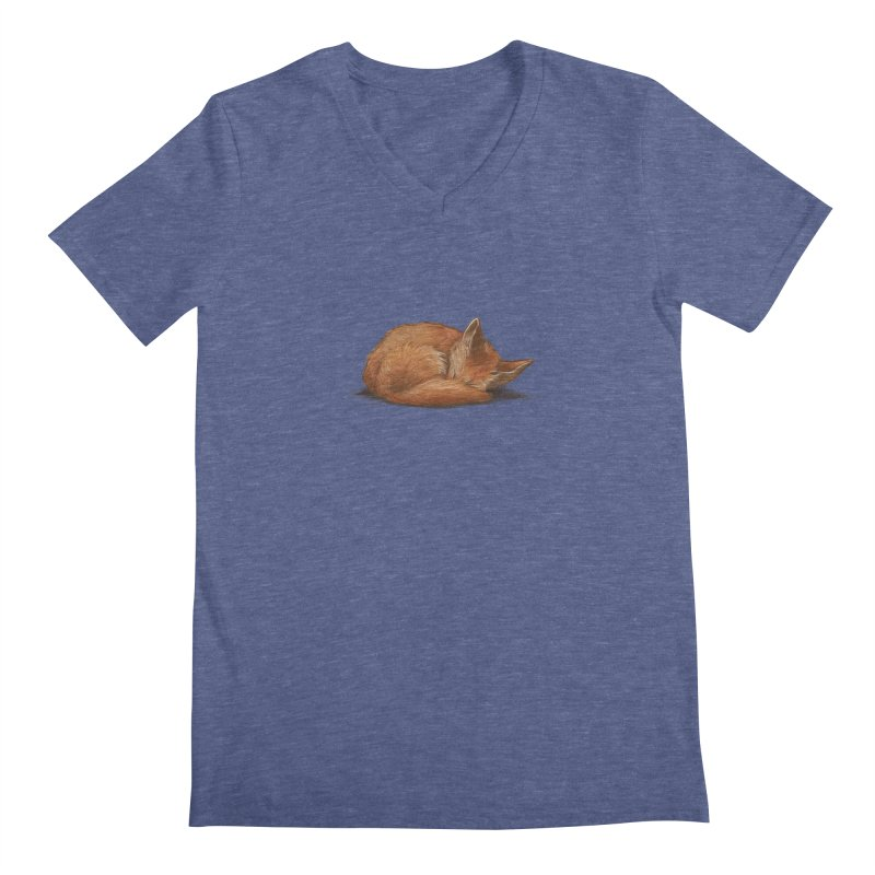 Let Sleeping Foxes Lie Men's V-Neck by The Art of Helenasia