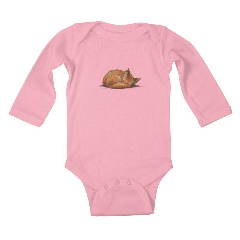 Let Sleeping Foxes Lie Kids Baby Longsleeve Bodysuit by The Art of Helenasia