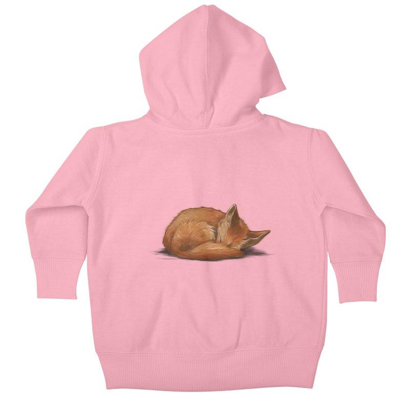 Let Sleeping Foxes Lie Kids Baby Zip-Up Hoody by The Art of Helenasia