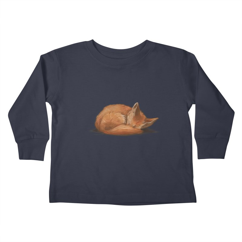 Let Sleeping Foxes Lie Kids Toddler Longsleeve T-Shirt by The Art of Helenasia