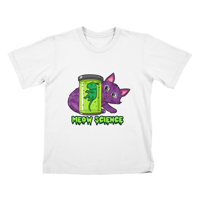 Meow Science Kids T-Shirt by The Art of Helenasia