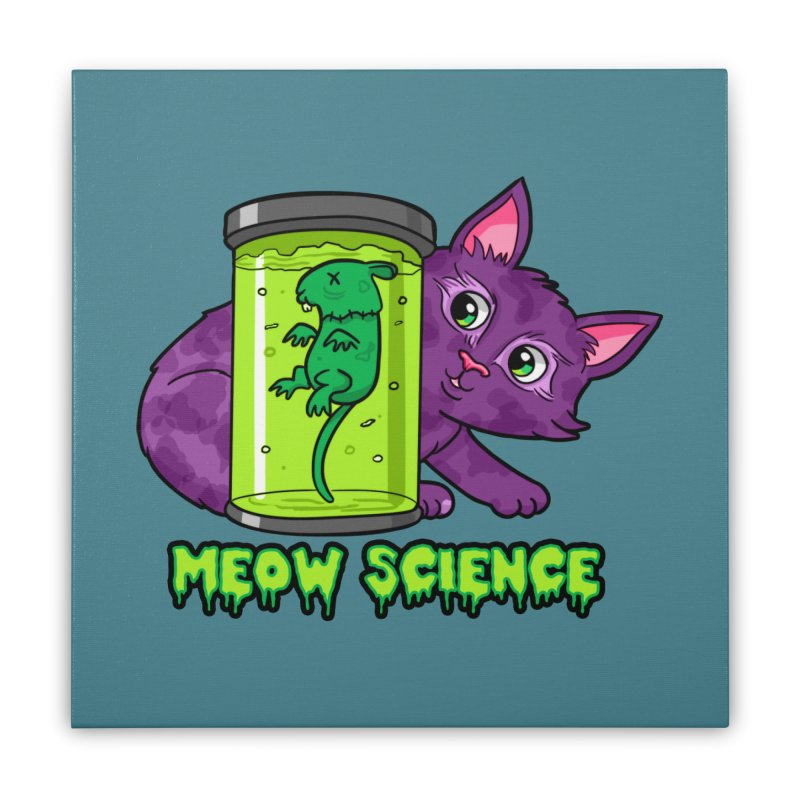 Meow Science Home Stretched Canvas by The Art of Helenasia