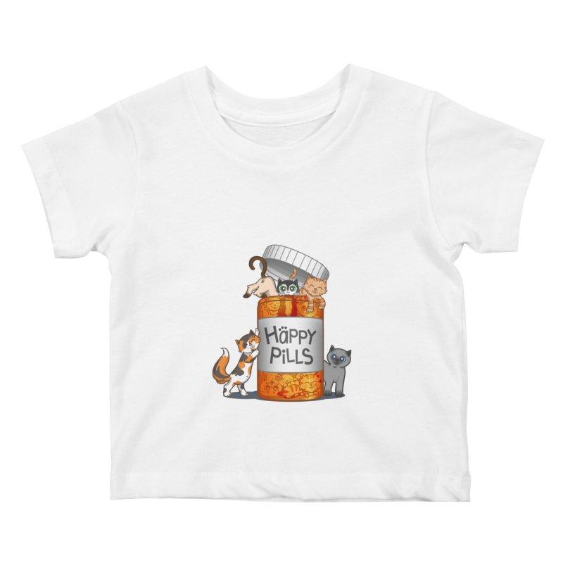 Happy Pills Kids Baby T-Shirt by The Art of Helenasia