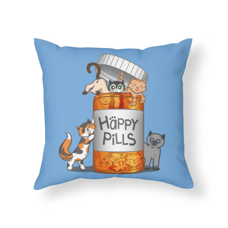Happy Pills Home Throw Pillow by The Art of Helenasia