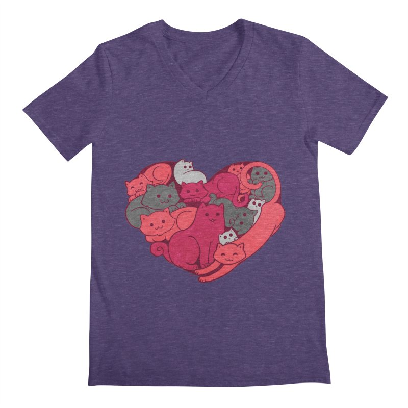Purrfect Love Men's V-Neck by The Art of Helenasia