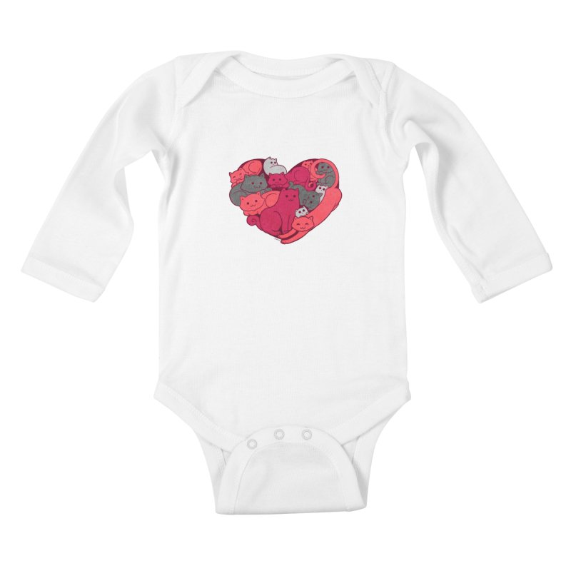 Purrfect Love Kids Baby Longsleeve Bodysuit by The Art of Helenasia