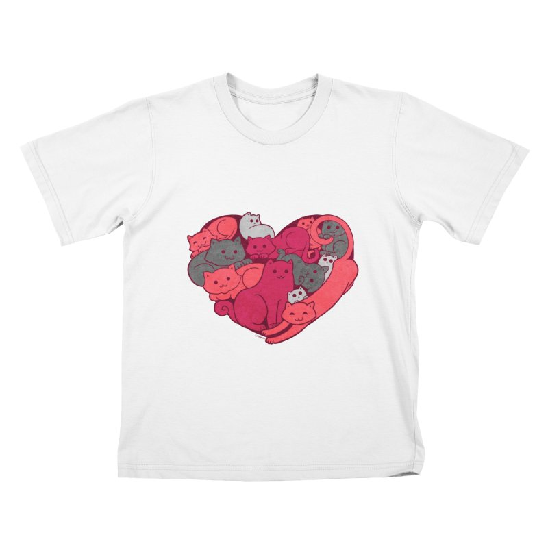 Purrfect Love Kids T-Shirt by The Art of Helenasia