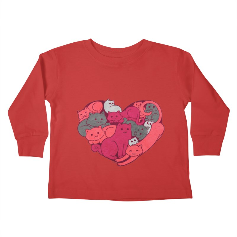 Purrfect Love Kids Toddler Longsleeve T-Shirt by The Art of Helenasia