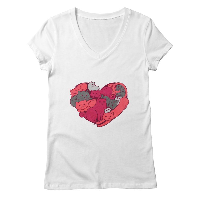 Purrfect Love Women's V-Neck by The Art of Helenasia