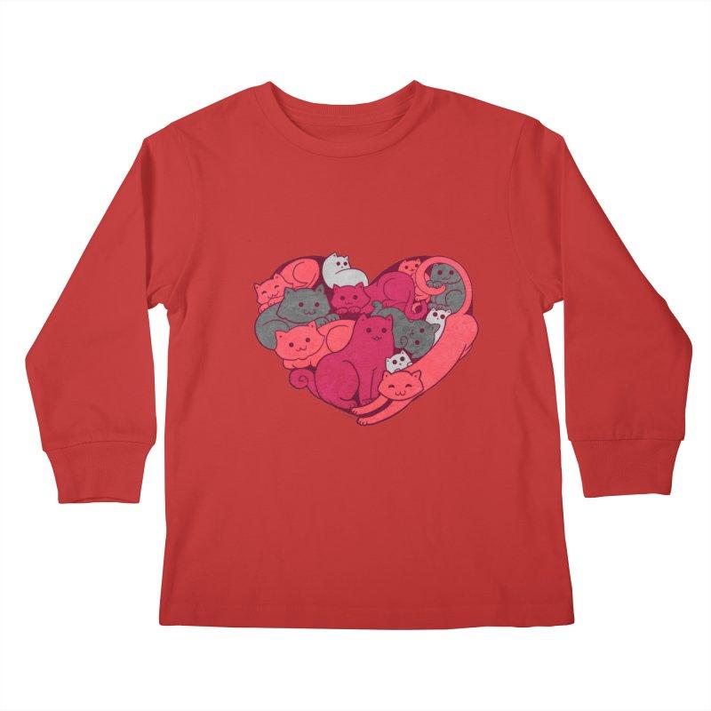 Purrfect Love Kids Longsleeve T-Shirt by The Art of Helenasia