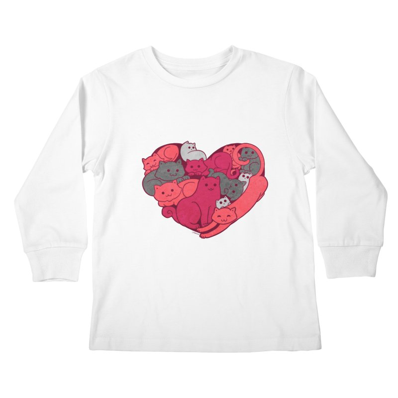 Purrfect Love Kids Longsleeve T-Shirt by The Art of Helenasia
