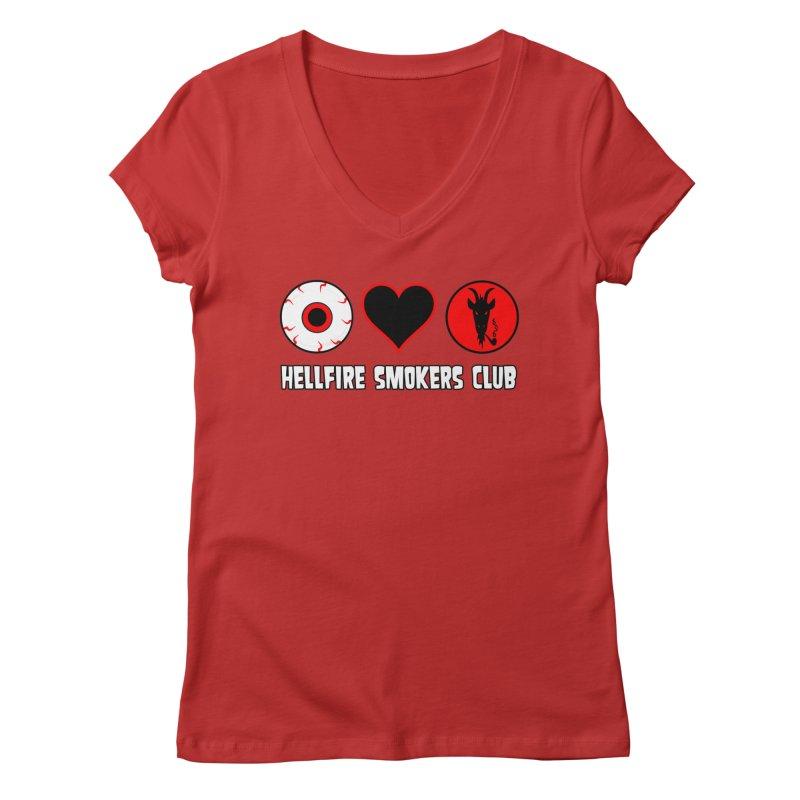 Hellfire Smokers Club - Eye Heart HSC Women's V-Neck by hellfiresmokersclub's Artist Shop