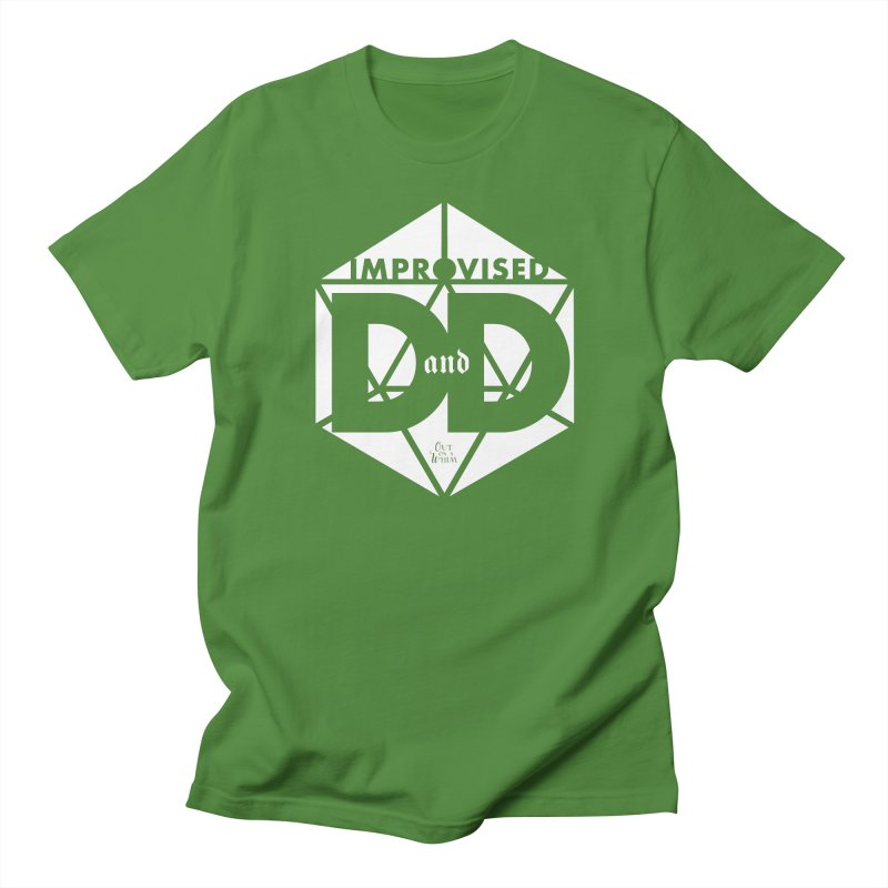 Improvised D&D Logo - white in Men's Regular T-Shirt Clover by Out On A Whim