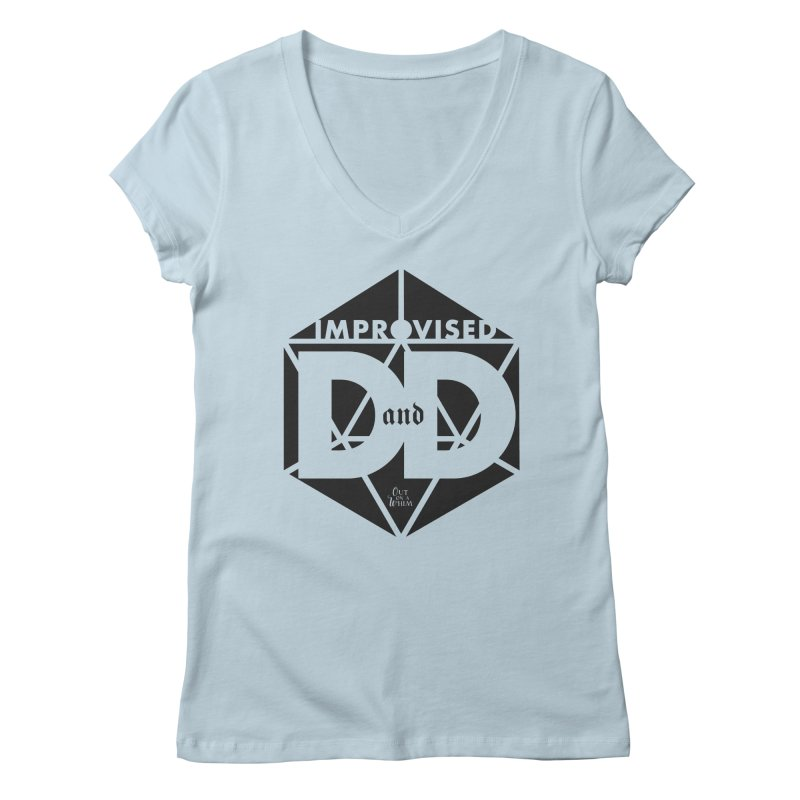 Improvised D&D Logo - black in Women's Regular V-Neck Baby Blue by Out On A Whim
