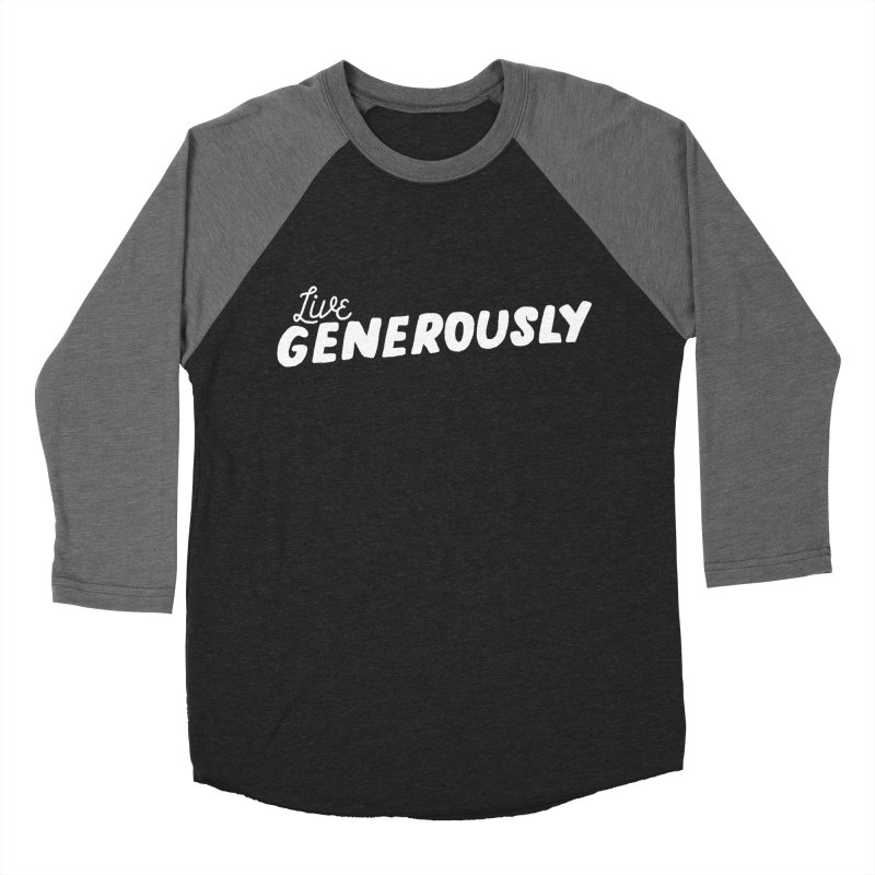 Live Generously Men's Baseball Triblend Longsleeve T-Shirt by Hello Happiness!